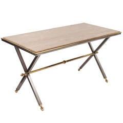 Travertine Top Steel & Brass Table Maison & Jardin 1970s