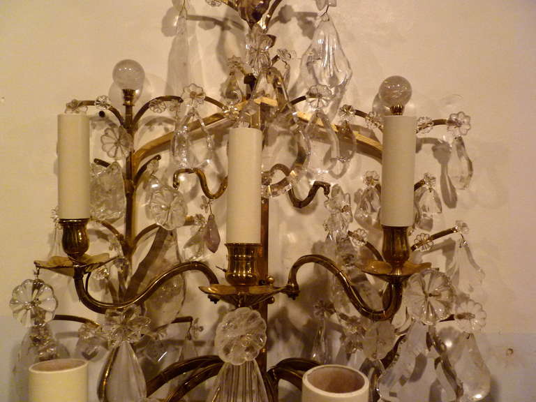 Progress Lighting Riverside Collection 4 Light Heirloom: Pair Of Large French Brass And Rock Crystal 9 Light Wall