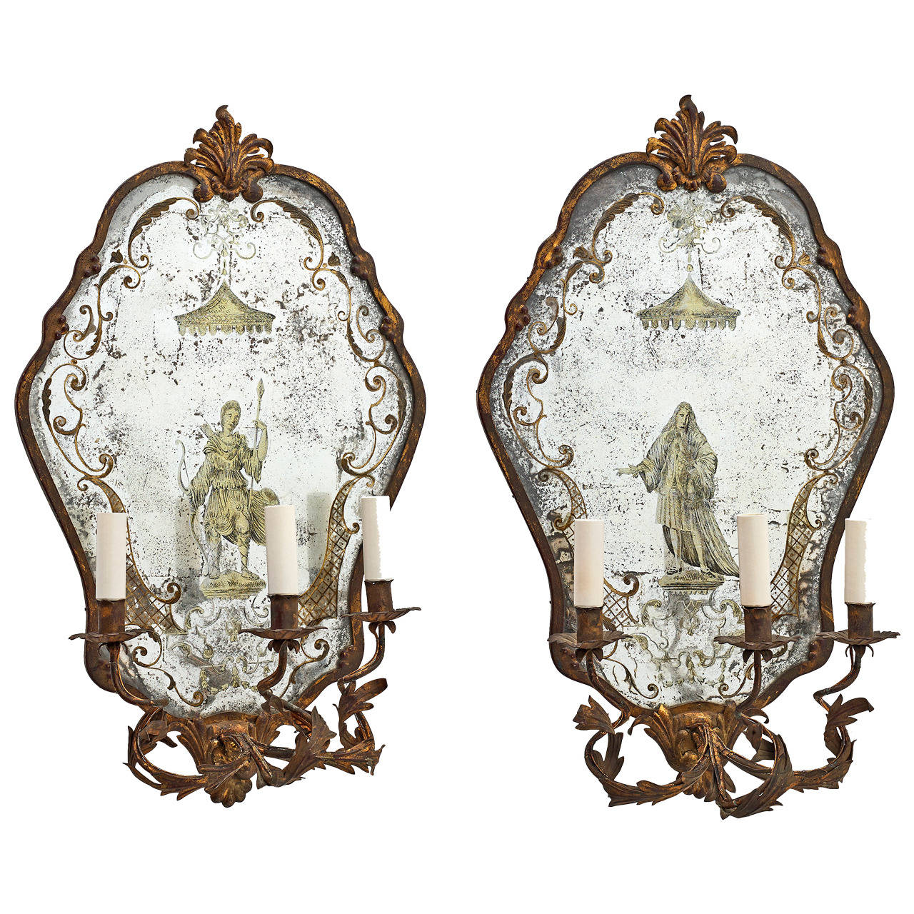Mirrored Wall Sconce pair of italian 'Églomisé' mirrored wall sconces, circa 1950 at