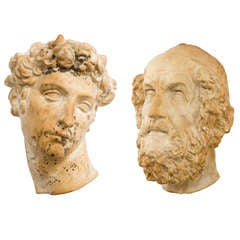 Two French Plaster Heads of Homer and Giuliano de Medici