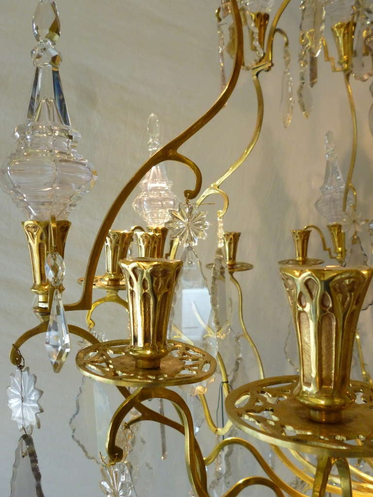 Large 19thc Neo Gothic French 12 Light Crystal And Gilded