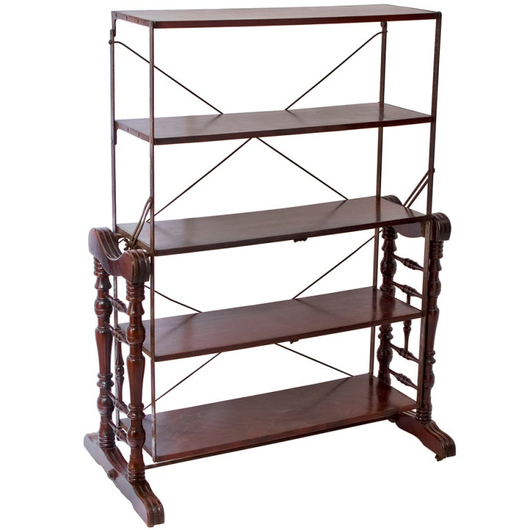 American Walnut Metamorphic Shelving Unit Converting To A