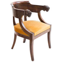 French Empire Mahogany Desk Chair with Lions Head Armrests c.1810