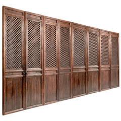 Chinese Elm Eight-Panel Window Lattice Screen Doors, Shanxi Province