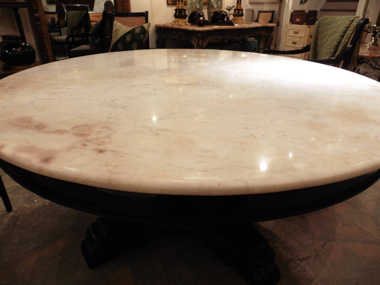 Anglo Indian Ebonized Mahogany Centre Table With White Marble Top, Circa  1860 2