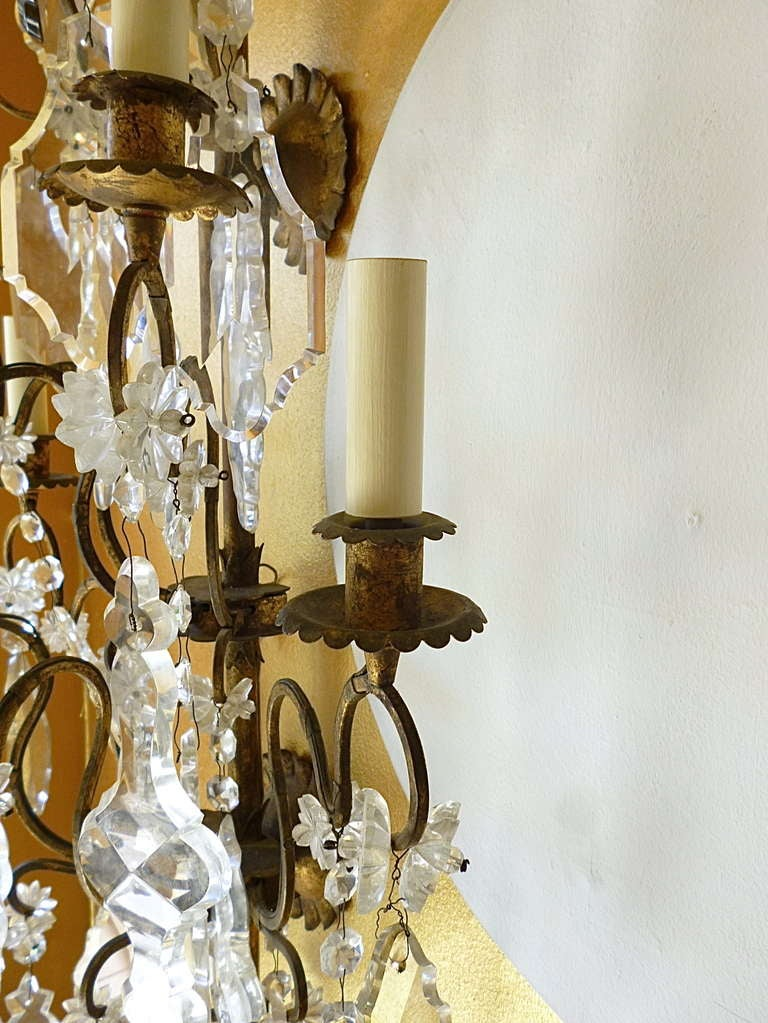 Pair Large French Gilt Metal and Glass Plaquette Drop Wall Sconces c.1880 at 1stdibs