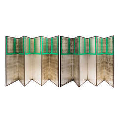 Pair of 19th Century Japanese Six Fold Silvered Paper Screens