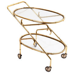 English Faux Bamboo Vintage Drinks Trolley, circa 1960