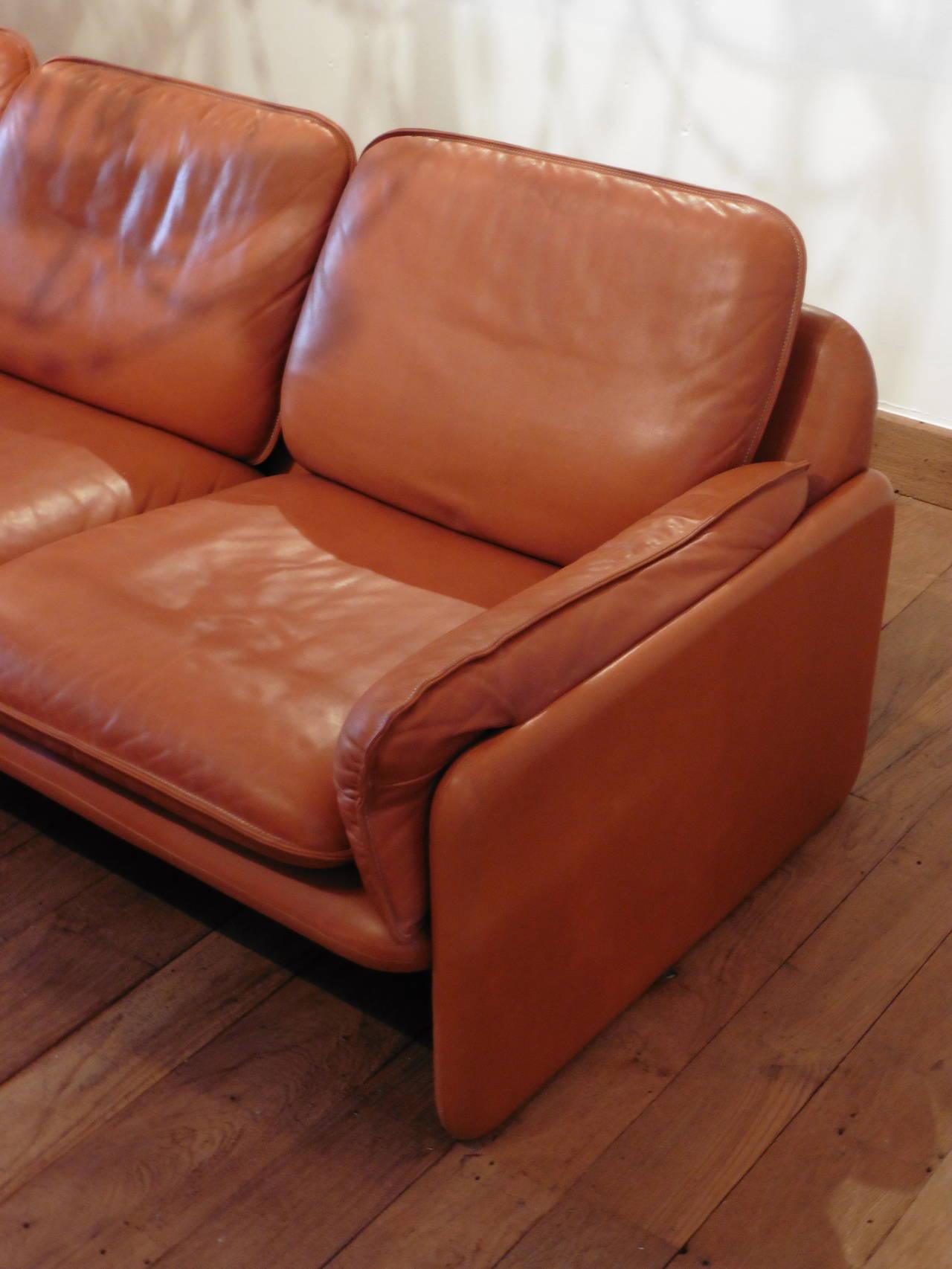 De Sede Three Seat Cognac Aniline Leather Sofa, Circa 1970 For Sale 3