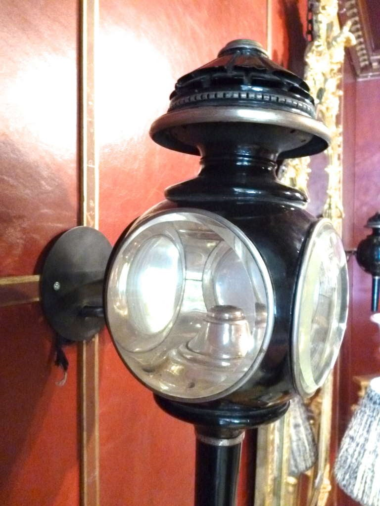 Pair Victorian Black Tole And Silvered Ovoid Carriage