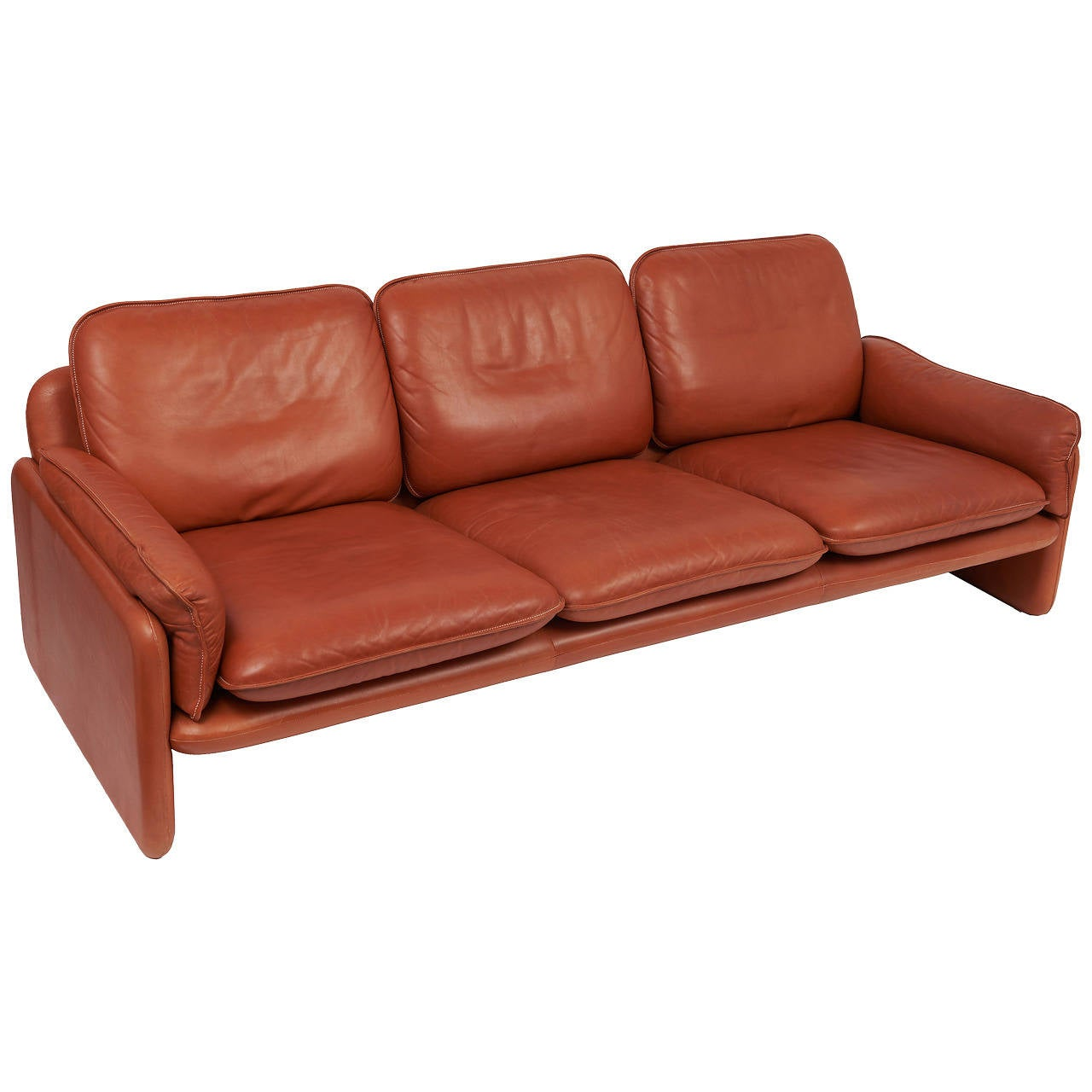 de sede three seat cognac aniline leather sofa circa 1970 for sale at 1stdibs. Black Bedroom Furniture Sets. Home Design Ideas