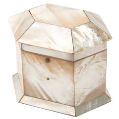 English Victorian Mother-of-Pearl Veneered Tea Caddy, circa 1850