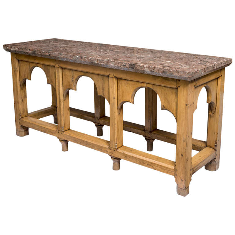 Victorian Large Stripped Pine Gothic Console Table, Circa 1850 1