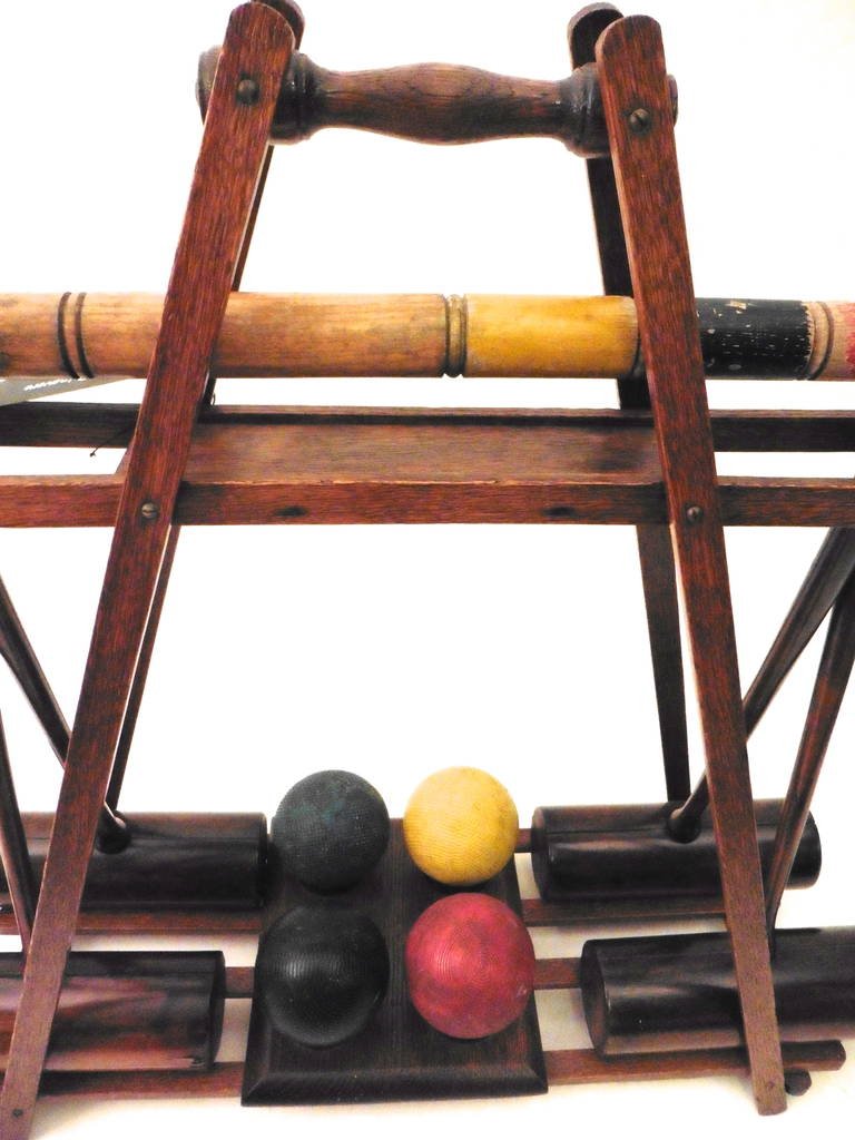 Edwardian wooden croquet set on stand circa at stdibs