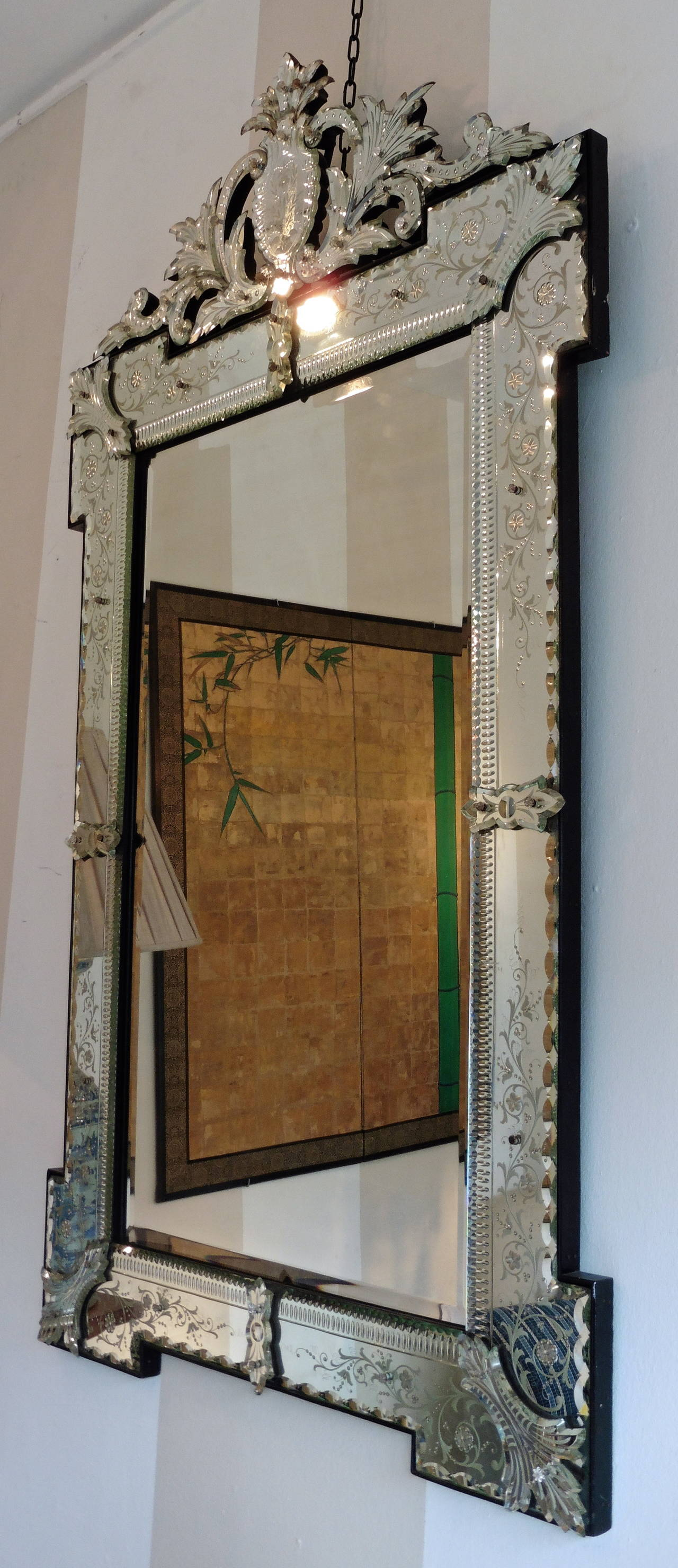 French Venetian Style Engraved Rectangular Mirror With