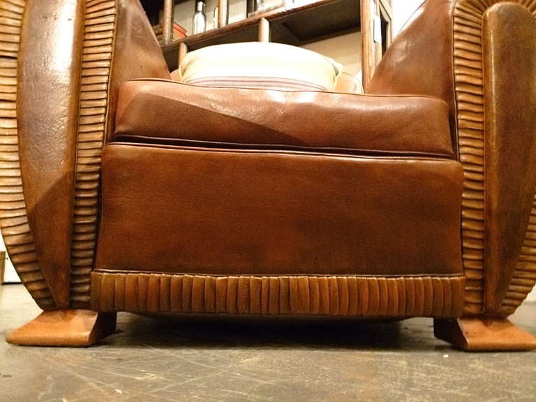 Pair french art deco tan leather club armchairs at 1stdibs - Deco lounge grijs en beige ...