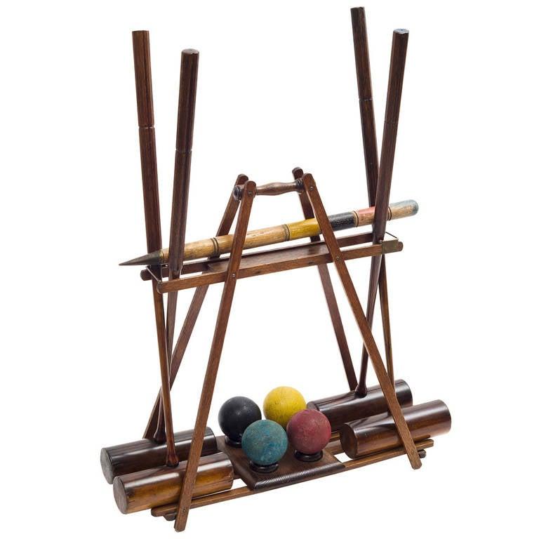 edwardian wooden croquet set on stand circa 1 - Croquet Set