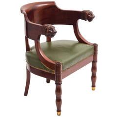 French Empire Style Mahogany Tub Desk Chair, circa 1880