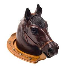 English Fruit Wood Horse Head Tobacco Jar