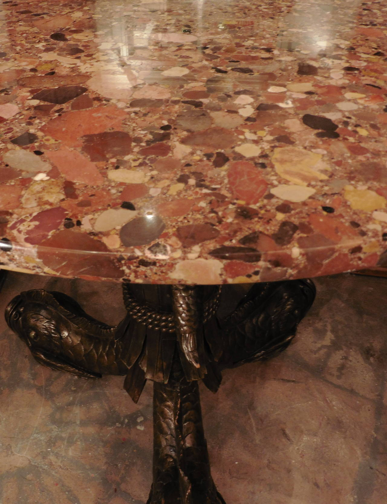 Engraved Limestone Inlay : French carved wood tripod table with marble top circa