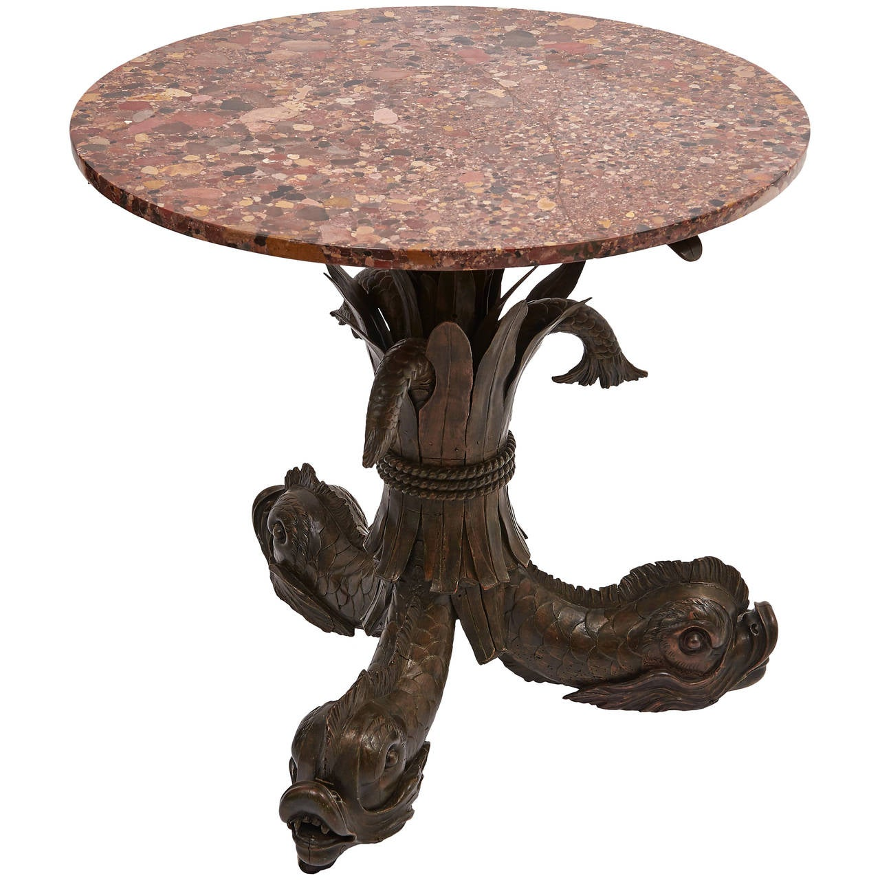 French carved wood tripod table with marble top circa