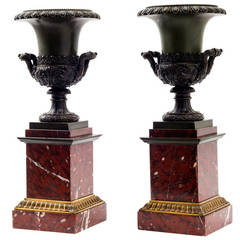 Pair of French Empire Style Bronze Campana Shaped Urns