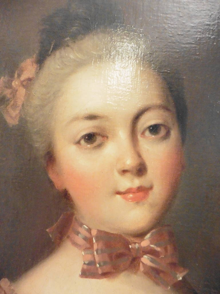 French 18th Century Portrait of a Young Noblewoman, Oil on Canvas 2