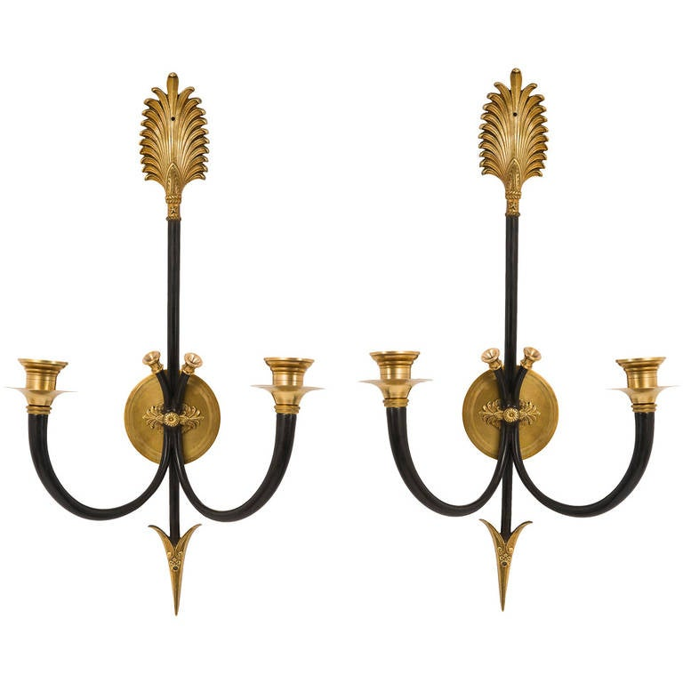 Pair of French Patinated and Gilt Brass Twin-Light Wall Sconces, circa 1940 at 1stdibs