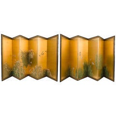 Pair of Japanese 19th Century Six Fold Screens with Gold Leaf Background