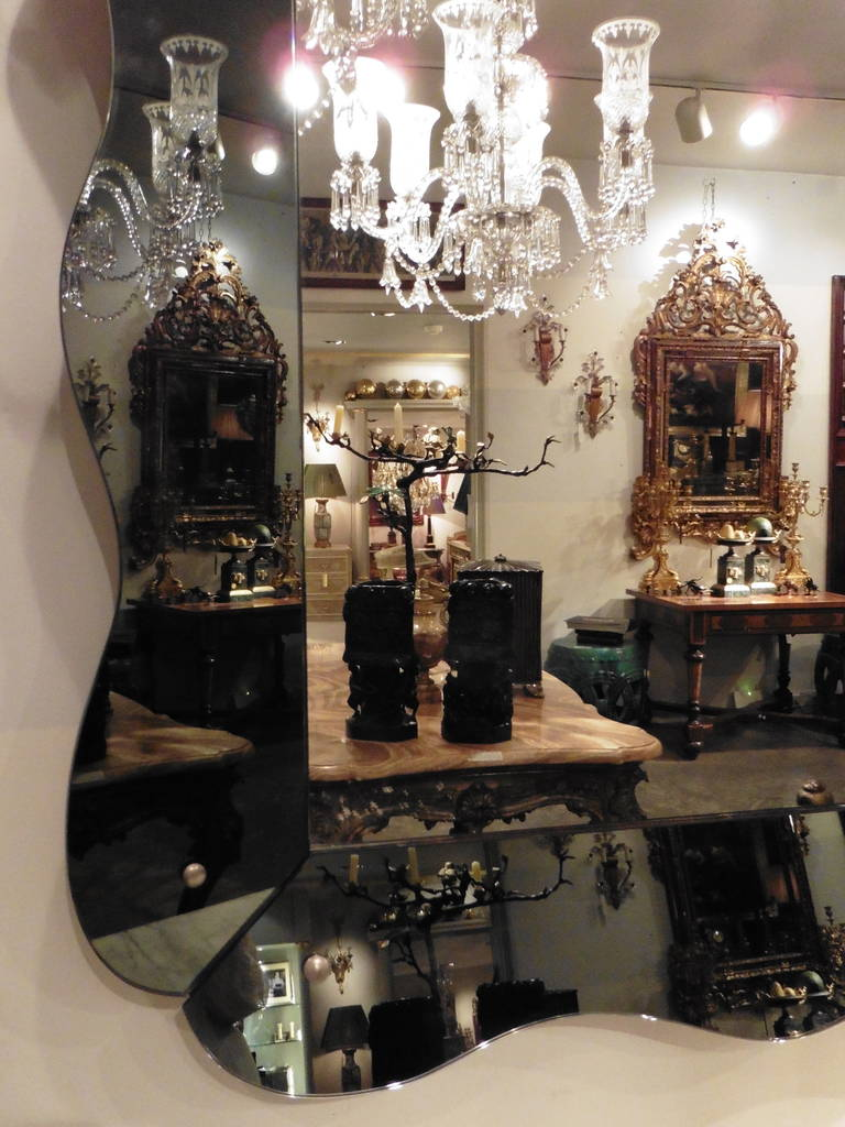 French Large Venetian Style Mirror with Scalloped Grey Mirrored Frame, circa 1960 For Sale
