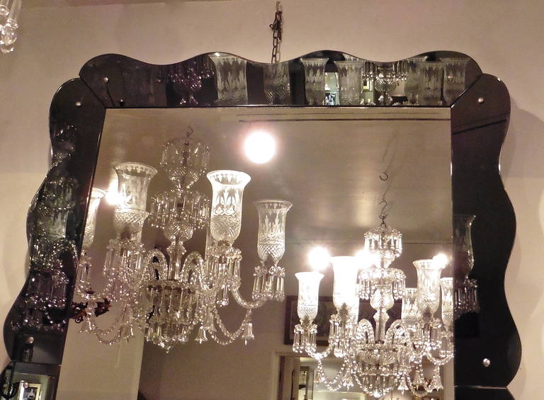 Large Venetian Style Mirror with Scalloped Grey Mirrored Frame, circa 1960 For Sale 1