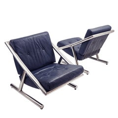 Pair of Italian Chrome and Leather Longue Chairs, circa 1970