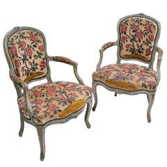 Pair of French Louis XV Painted Armchairs with Needlepoint Upholstery c.1760