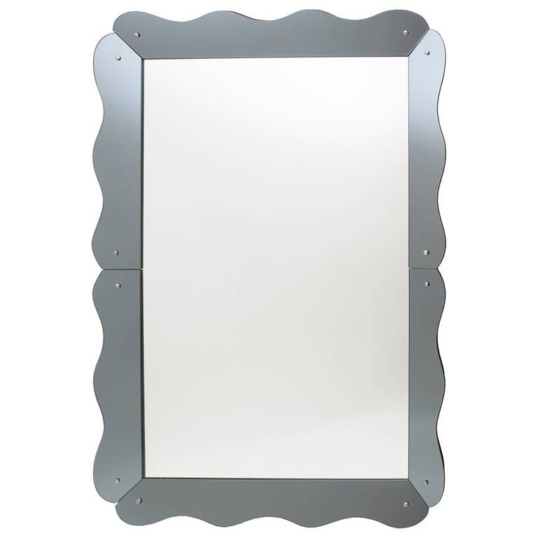 large venetian style mirror with scalloped grey mirrored frame circa 1960 1