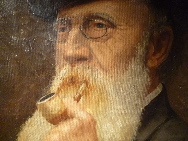 Portrait of a Characterful Gentleman Smoking his Pipe - Signed Henri Deivins '94 In Good Condition For Sale In London, GB