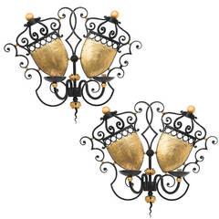 Pair of French Painted Wrought Iron Double Shield Wall Sconces, circa 1950