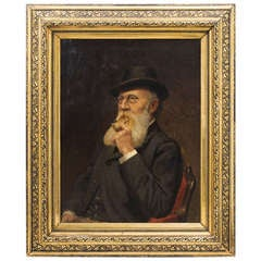 Portrait of a Characterful Gentleman Smoking his Pipe - Signed Henri Deivins '94