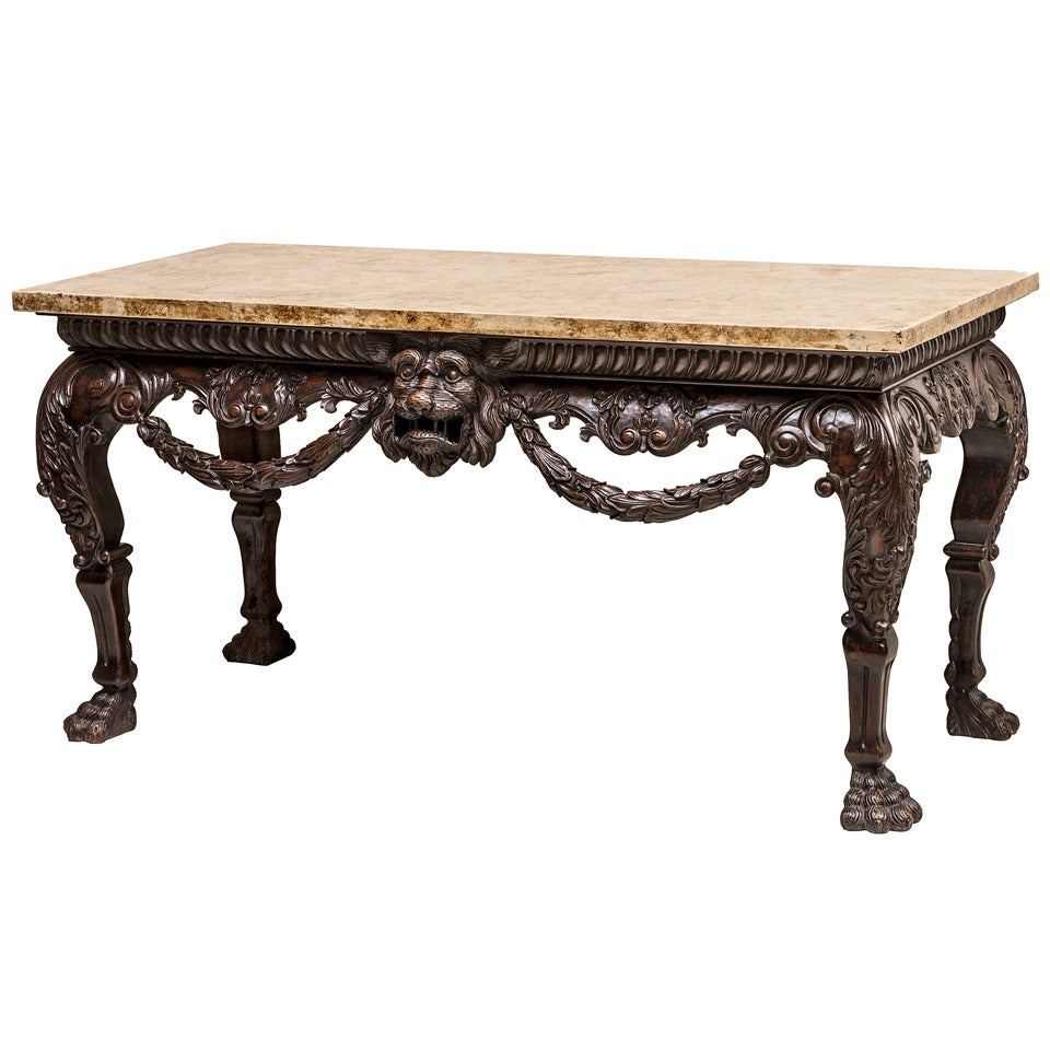 Large And Ornately Carved Irish Walnut Console Table C.1910 At 1stdibs