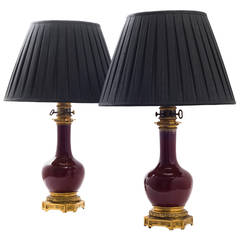 Pair of Bronze-Mounted Oxblood Vase Lamps by Gagneau of Paris, circa 1870