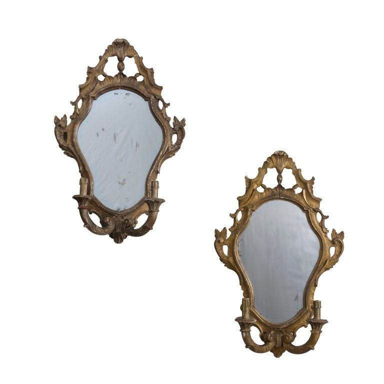 Pair of Giltwood and Mirror Backed Sconces at 1stdibs