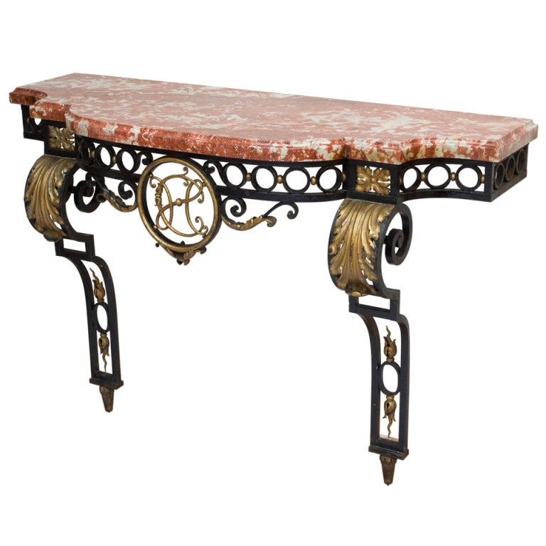frech wrought iron and marble console table 1