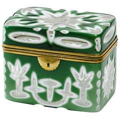 Bohemian 19th Century Opaque Green Glass Casket with Gilt Bronze Mounts