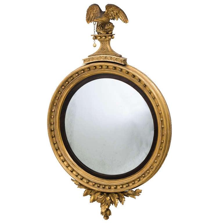 English Regency Giltwood Convex Mirror with Eagle Crest Circa 1810
