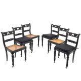 Set of 6 Anglo-Celaynese Regency Ebony Dining Chairs