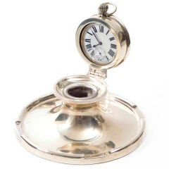 Captain's Silver Clock Inkwell
