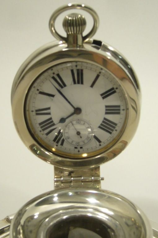 20th Century Captain's Silver Clock Inkwell