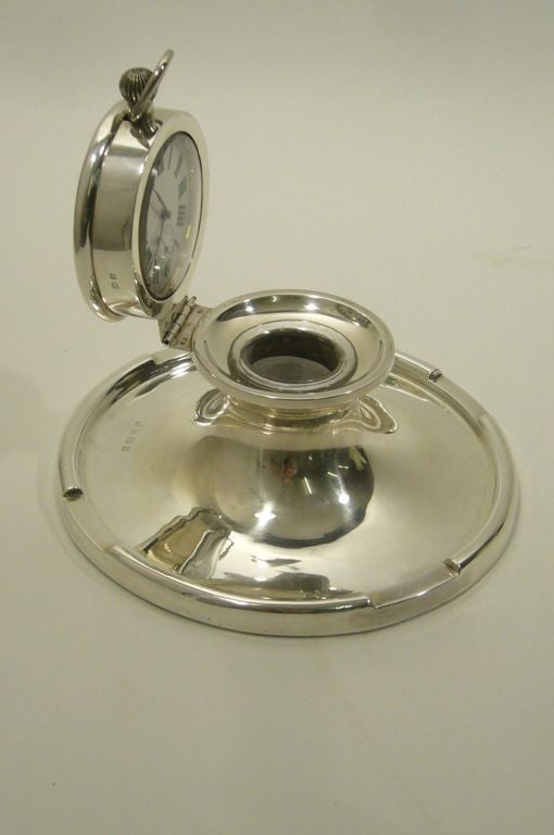 Captain's Silver Clock Inkwell 1