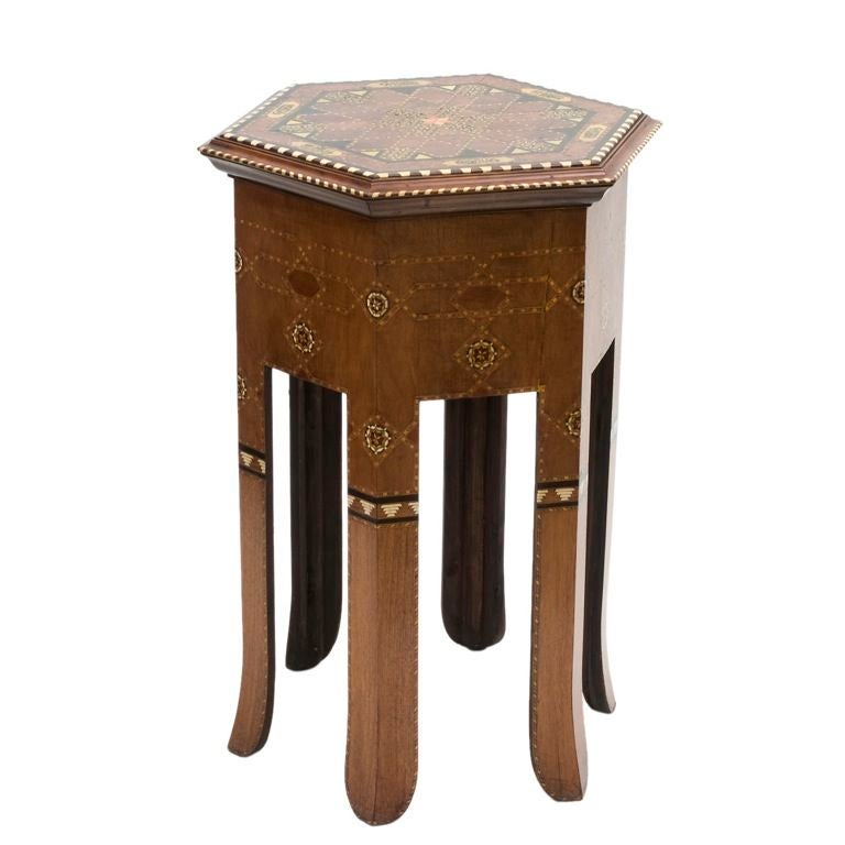 An Unusual Hexagonal Inlaid Side Table at 1stdibs