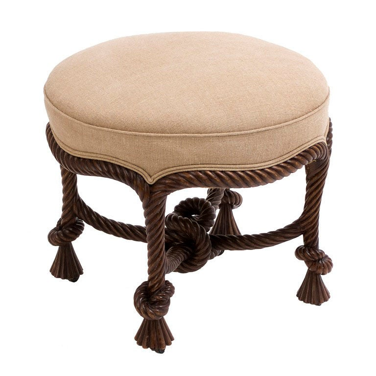 Carved Beech Rope Twist Stool After Fournier At 1stdibs