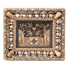 Intricate Sailor's Valentine Shell Picture of Doves and a Heart